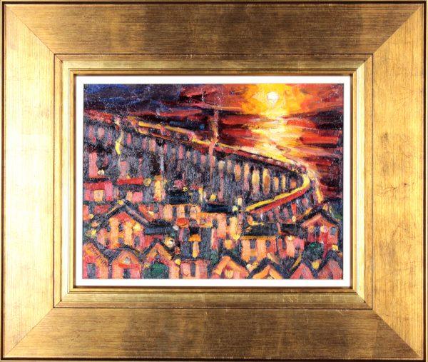 Charles Monteith Walker_Rail Bridge, Dundee_Oils_Framed Size 22x26