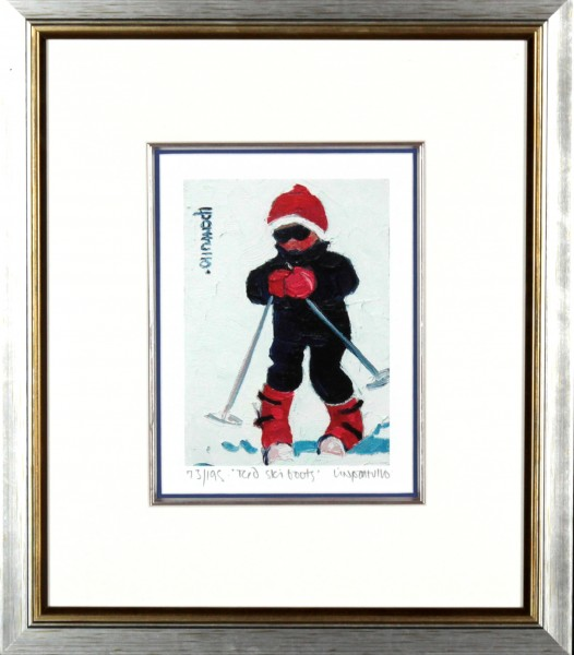 Lin Pattullo_Red Ski Boots_16x14_Framed Print