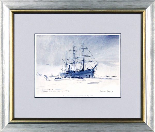Peter Knox_RSS Discovery, Trapped in Antarctic Ice_11x13_Framed Print