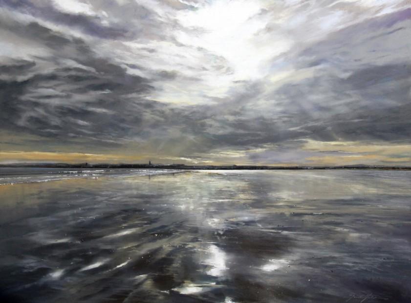 Fiona Haldane_Clouds in the Sand, St Andrews_Pastel_36x48