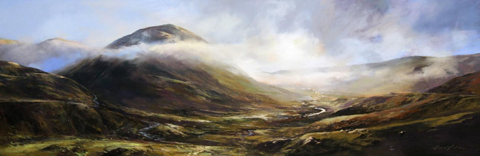 Fiona Haldane_Falling Mist, Glenshee_Pastel_16x48