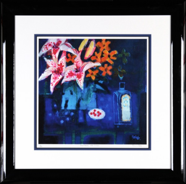 Francis Boag_Blue Table With Lilies_Signed Limited Edition Print Giclee_Framed 29x29_Image 17x17
