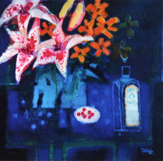 Francis Boag_Blue Table With Lilies_Signed Limited Edition Print Giclee_Image 17x17