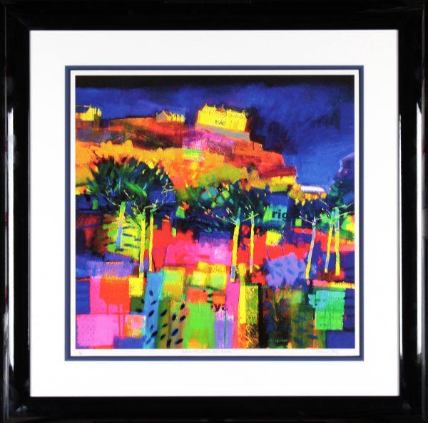 Francis Boag_Edinburgh Castle, July Evening_Signed Limited Edition Print Giclee_Framed 35x35_Image 23x23