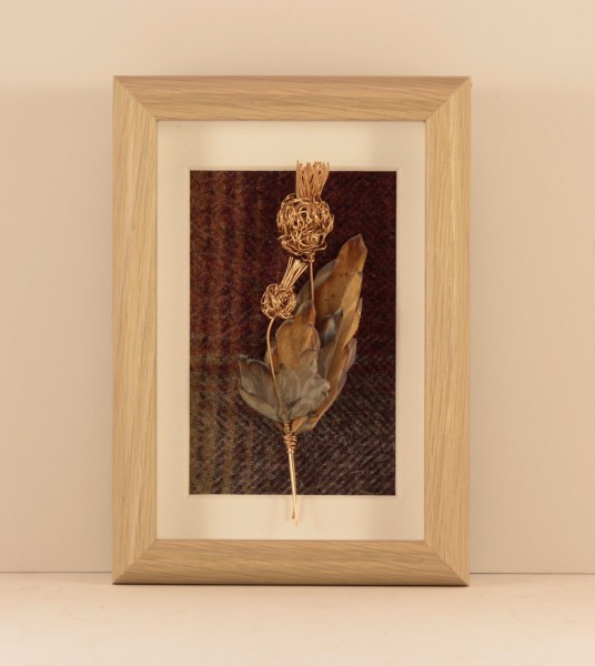 Handmade Copper Wire Thistle Framed Oak effect _6.5x 4.5 x 1.5_65