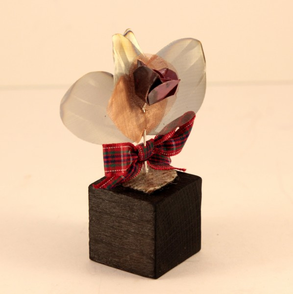 Handmade Rose on Wood with Tartan heart detail_3.5x1.5