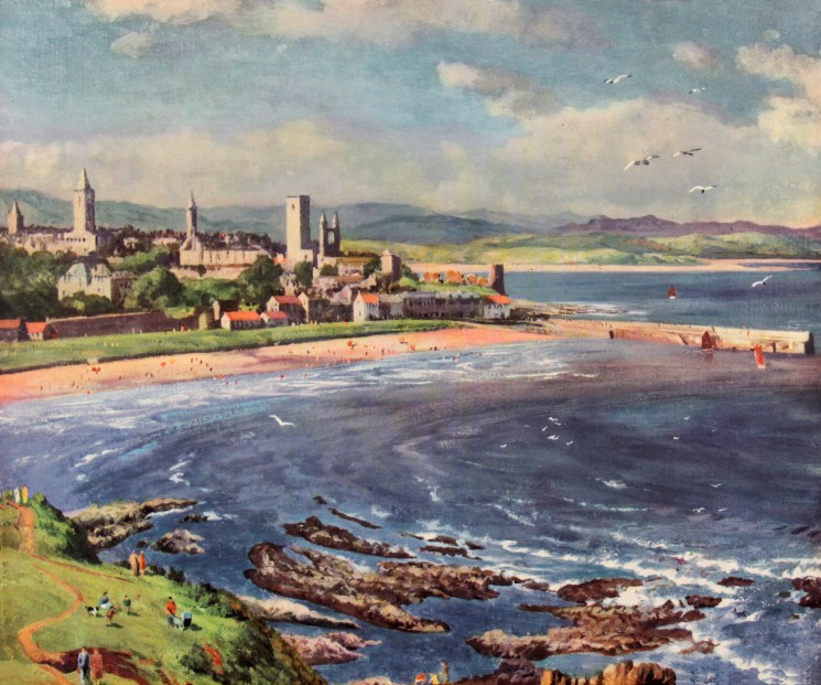 James McIntosh Patrick OBE RSA_View of St Andrews_Very Rare Railway Poster_Collotype Print circa 1950_19 x 23