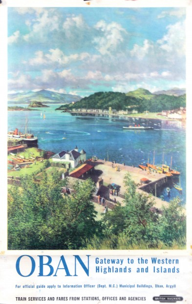 James McIntosh Patrick_Oban, Original British Railway Poster circa 1950's_poster size 38.5x25
