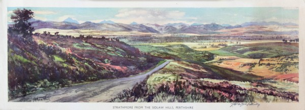 James McIntosh Patrick_Strathmore From The Sidlaw Hills Perthshire, Original British Railway Poster circa 1950's_image 7.5x23