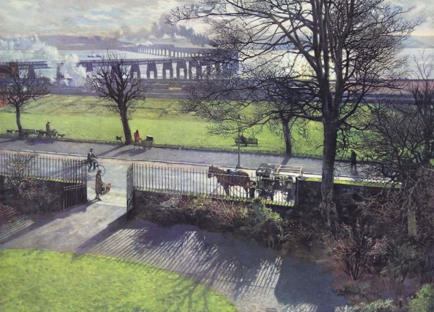 James Mcintosh Patrick Tay Bridge From My Studio on Board not signed
