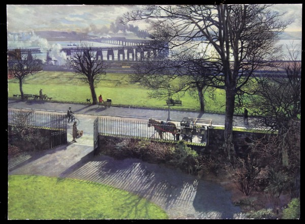 James Mcintosh Patrick Tay Bridge From My Studio on Board not signed_