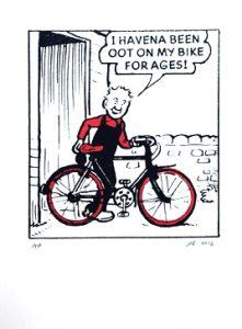 Oor Wullie with his Bike