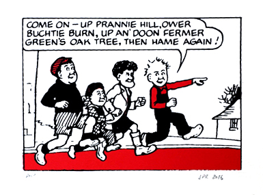 Oor Wullie with his pals Soapy Joe, Fat Bob and Wee Eck