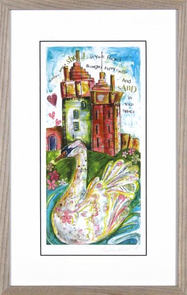 Debbie Hill_Signed Print_Swans At Castle Green_Framed 175x11_Image12.5x6