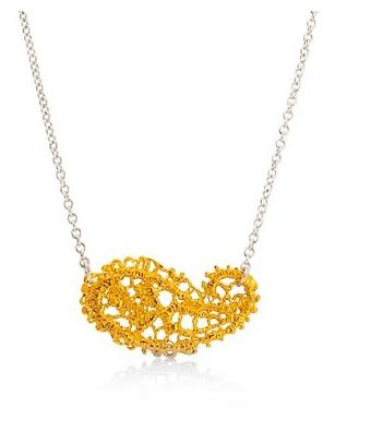 I love a lassie_Antique lace_Paisley necklace_Gold Vermeil