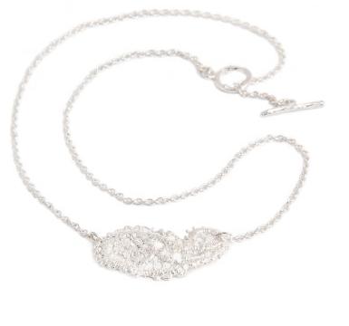 I love a lassie_Antique lace_Paisley necklace_silver chain