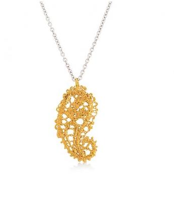 I love a lassie_Antique lace_Paisley pendant_gold vermeil