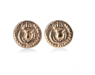 I love a lassie_Bawbee coin stud earrings_med_rose gold