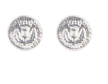 I love a lassie_Bawbee coin stud earrings_med_silver