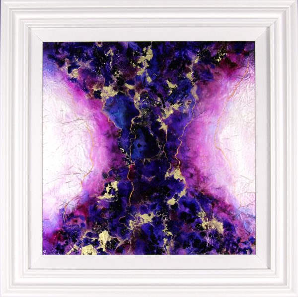 Roz Bell_Fusion III_Mixed Media with Resin Varnish_Framed 32x32_image 24x24