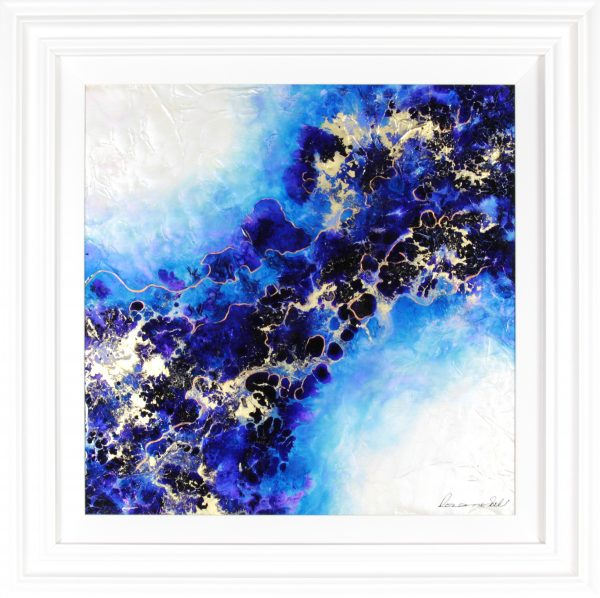 Roz Bell_Fusion II_Mixed Media with Resin Varnish_Framed 32x32_image 24x24