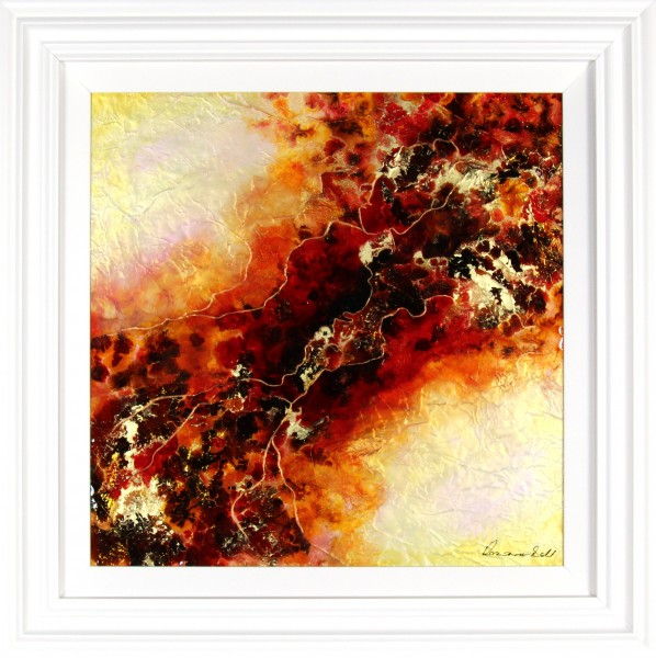 Roz Bell_Fusion I_Mixed Media with Resin Varnish_Framed 32x32_image 24x24