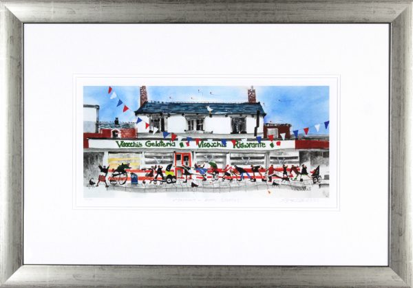 Sue Howells_Signed Limited Edition Print_Visocchi's- Buon Gelatol_Image 8.5x17_Framed 19x27