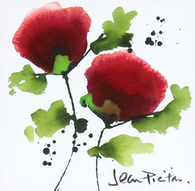 Jean Picton_Poppy Splash III_Original Watercolour__Img 7 x 7