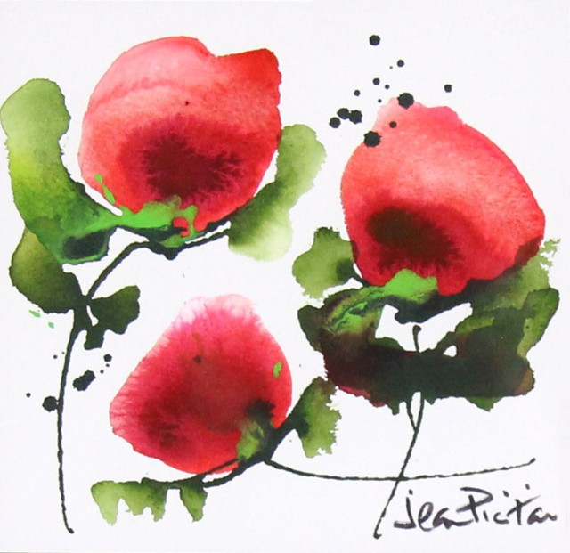Jean Picton_Poppy Splash II_Original Watercolour_Img 7 x 7