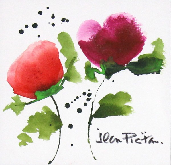 Jean Picton_Poppy Splash I_Original Watercolour_Img 7 x 7