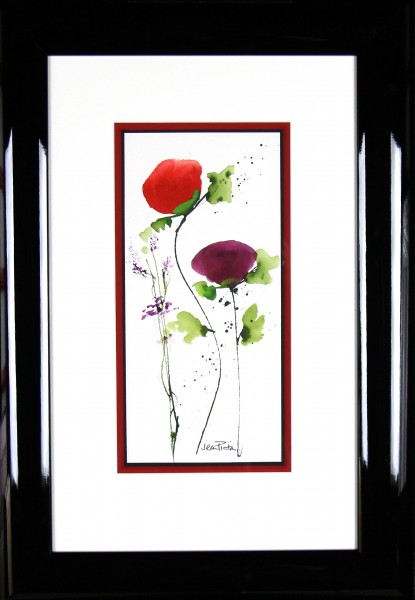 Jean Picton_Poppy Splash VIII_Original Watercolour_Fmd 26 x 18_Img 14 x 7