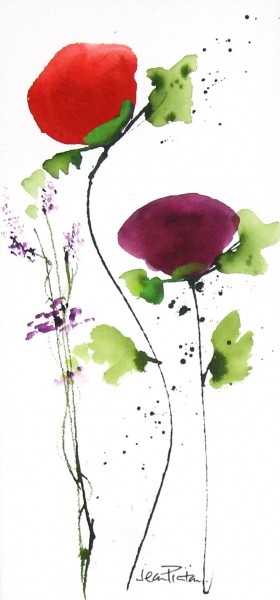 Jean Picton_Poppy Splash VIII_Original Watercolour_Img 14 x 7