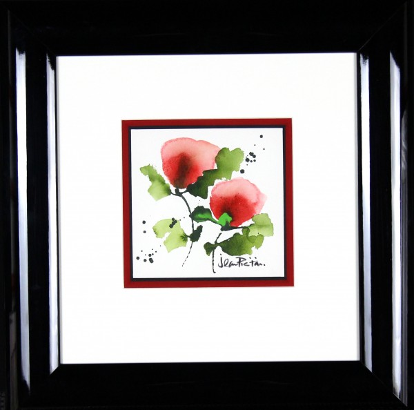 Jean Picton_Poppy Splash V_Original Watercolour_Fmd 18 x 18_Img 7 x 7