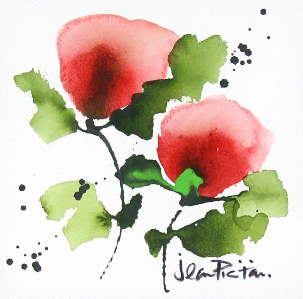 Jean Picton_Poppy Splash V_Original Watercolour_Img 7 x 7