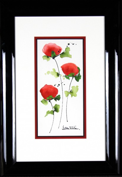 Jean Picton_Poppy Splash XII_Original Watercolour_Fmd 26 x 18_Img 14 x 7