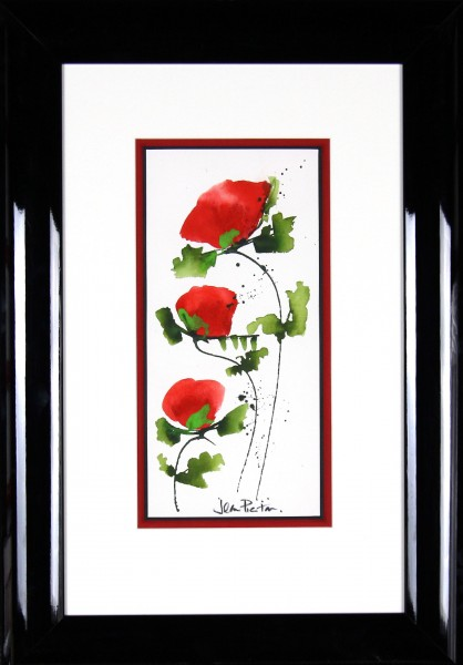Jean Picton_Poppy Splash XI_Original Watercolour_Fmd 26 x 18_Img 14 x 7