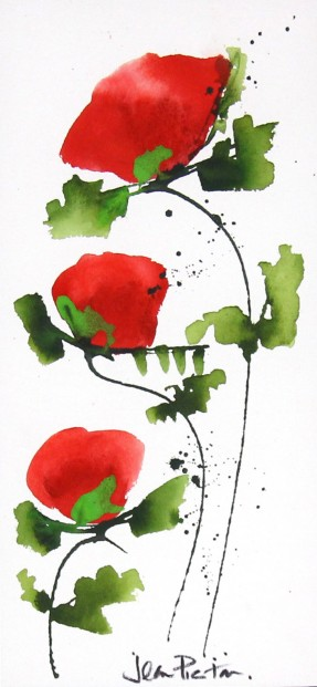 Jean Picton_Poppy Splash XI_Original Watercolour_Img 14 x 7