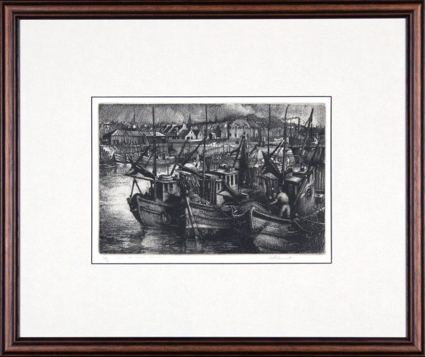 William Peters Vannet_ Etching_ 1957 The Harbour, Arbroath _ Image 8.5x12
