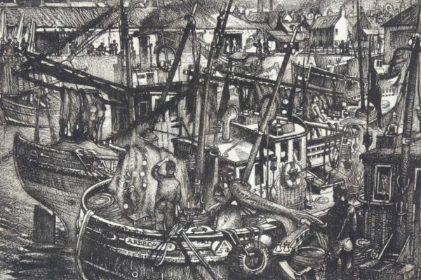 William Peters Vannet_ Etching_ Drying Nets, Arbroath (Exh. RA,RSA, RGI 1962)_ Image 8.5x12