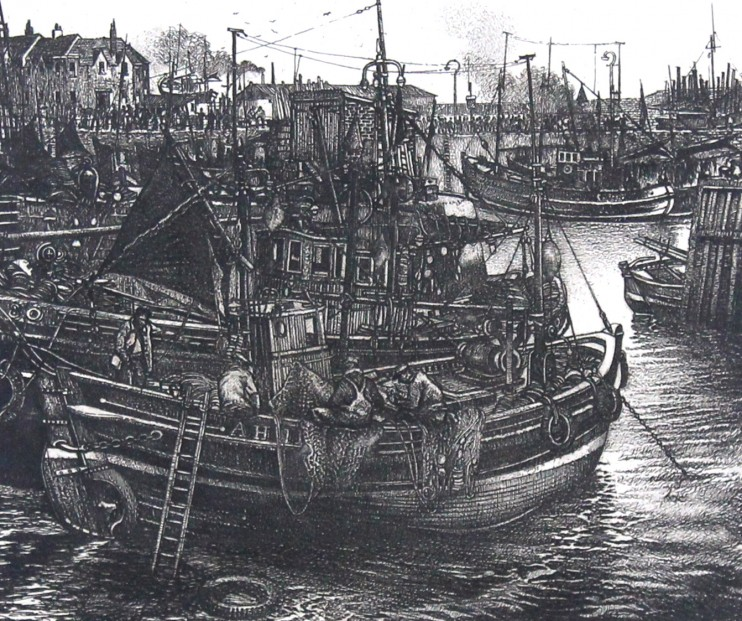 William Peters Vannet_ Etching_ Low Tide, Arbroath _ Image 10.5x12.5