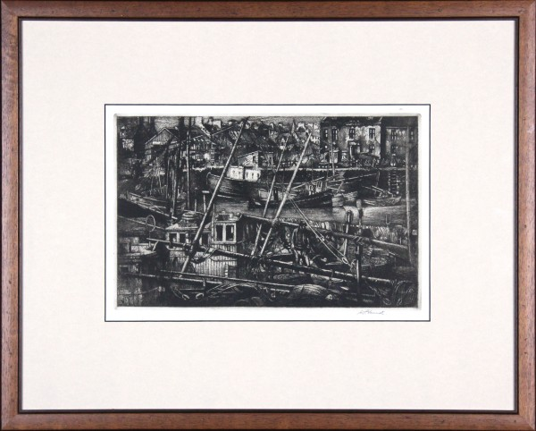 William Peters Vannet_ Etching_ MAsts and Spars, Arbroath (Exh. RSA & RA 1956)_ Image 9.5x14.5_framed 19.5x24 (2)