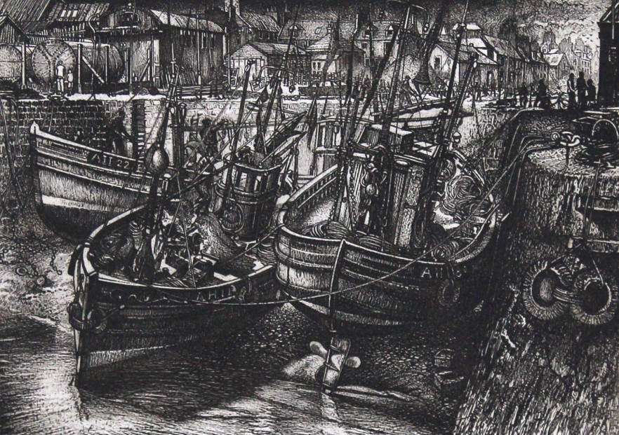 William Peters Vannet_ Etching_ Storm Clouds, Arbroath (Exh. RSA 1963  & RA 1964)_ Image 9.5x13