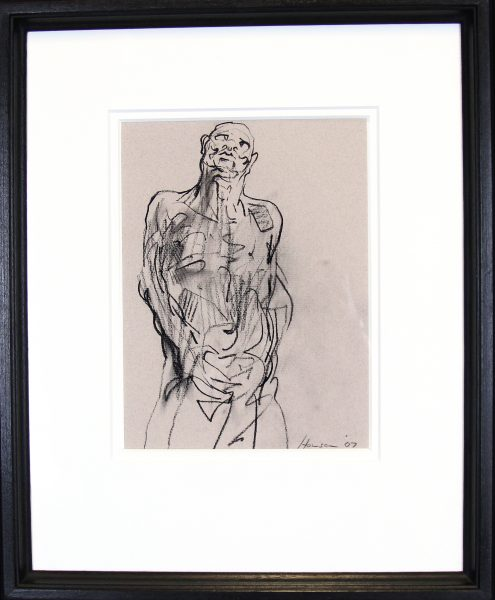 Peter Howson_Original_ Charcoal_Study for Inferno_Framed 18.5x22.5