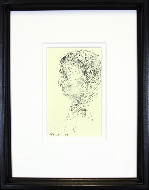 Peter Howson_Original_ Ink on Paper_Map Club II_Framed 14x18