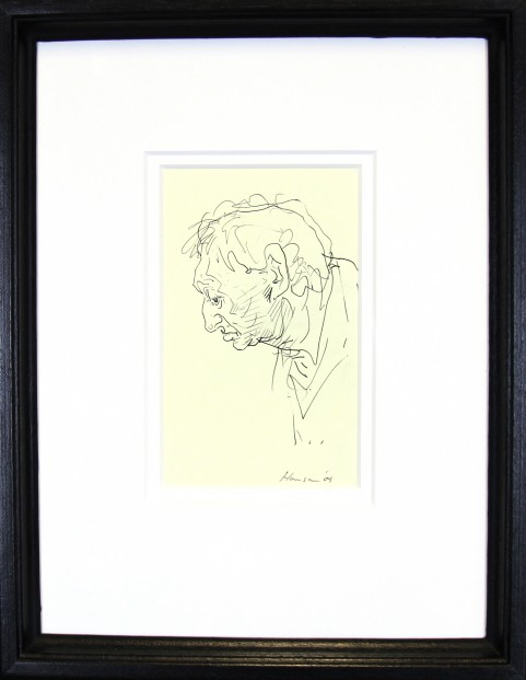 Peter Howson_Original_ Ink on Paper_Map Club IV_Framed 14x18