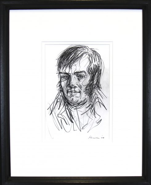 Peter Howson_Original_ Mixed Media_Robert Burns_Framed 18.5x22.5