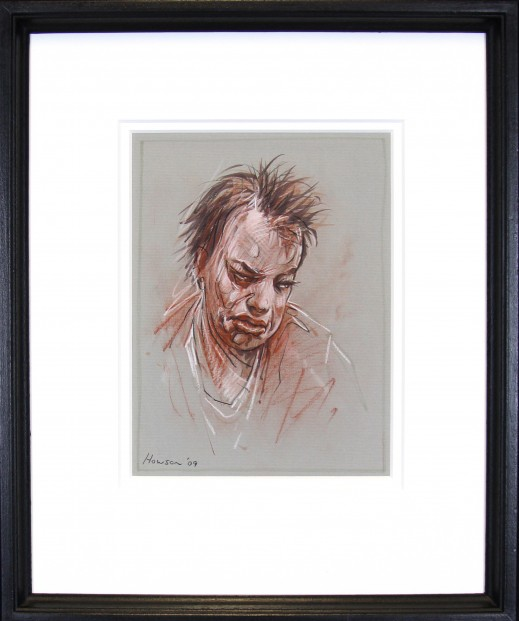 Peter Howson_Original_ Red Conte Crayon and Charcoal_Jane 6_Framed 18.5x21.5