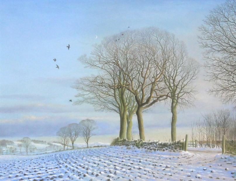 Alister Lindsay_A Winter Moon_Oils_12.75x16.5_21x24.5