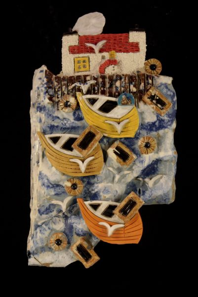 Donald McIntyre_Original Stoneware_East Neuk Plaque Orange Boat_9x5_60 (2)