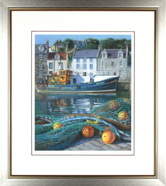 Gina Wright_SIgned Limited Edition Print_High Tide, Pittenweem_image 17x14_framed 27.75x24.75 (2)